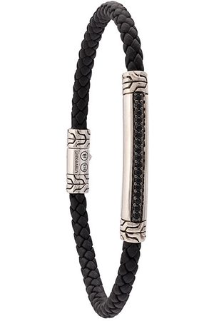 John Hardy Men Bracelets - Silver and Woven Leather Classic Chain Bracelet with Sapphire Station