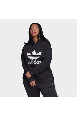 adidas Women Hoodies - Women's Originals Trefoil Hoodie (Plus Size) Size 2X-Large Cotton/Polyester