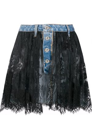 Unravel Project Lace overlay denim skirt