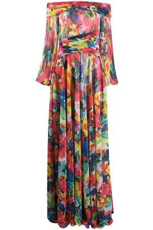 TALBOT RUNHOF Metallic floral-print gown