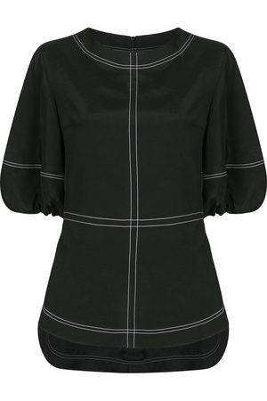 GOEN.J Topstitching puff-sleeves blouse
