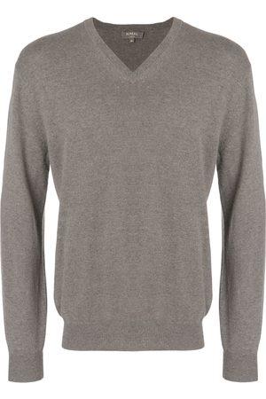 N.PEAL Burlington V-neck 1ply sweater - Grey