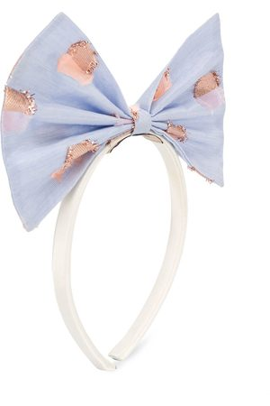 HUCKLEBONES LONDON Oversized bow metallic print headband