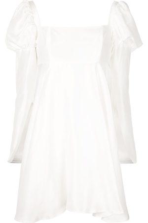 Macgraw Puff-shoulder flared dress