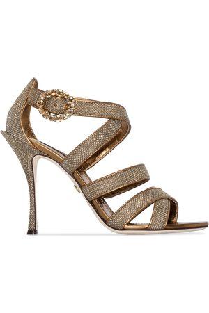Dolce & Gabbana Keira 105mm glitter-effect sandals - Metallic