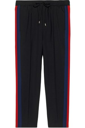 Gucci Men Sweatpants - Wool cropped pant with stripe