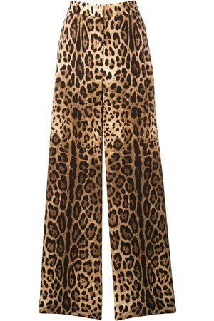 Dolce & Gabbana Women Wide Leg Pants - Leopard print trousers