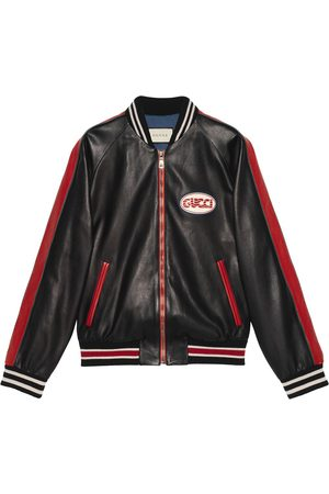 Gucci Men Leather Jackets - Leather bomber with pool patch