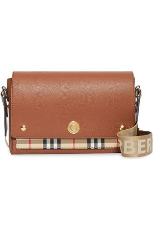 Burberry Women Clutches - Leather and Vintage Check Note Crossbody Bag