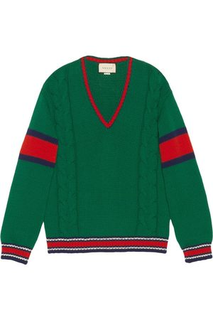 Gucci Cable knit v-neck jumper