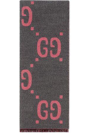 Gucci Women Scarves - GG jacquard wool silk scarf - Grey