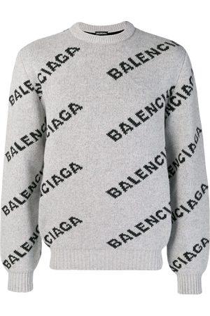 Balenciaga Men Sweatshirts - Logo crew neck sweater - Grey