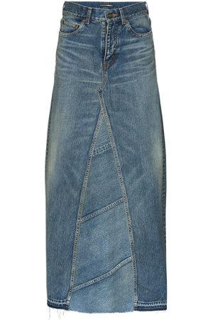 Saint Laurent Women Maxi Skirts - High-waisted maxi denim skirt