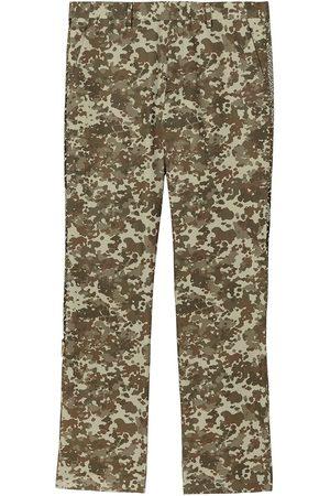 Burberry Monogram Print Stripe Detail Cotton Trousers