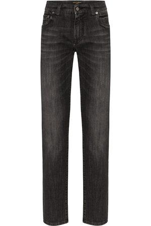 Dolce & Gabbana Men Straight - Faded logo plaque jeans