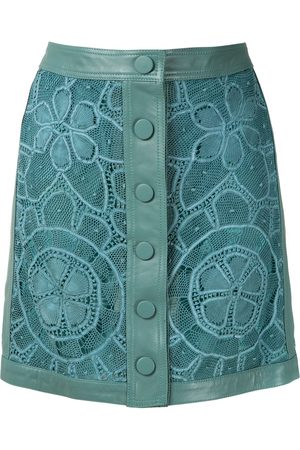 MARTHA MEDEIROS Women Leather Skirts - Leather lace skirt