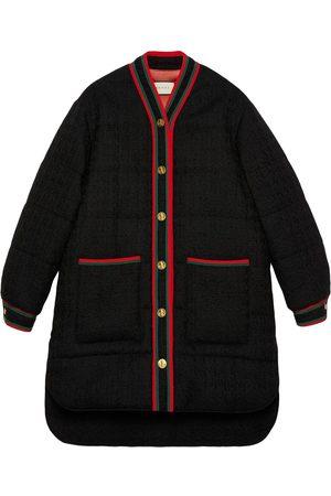 Gucci Web trim tweed padded jacket