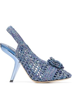 Marco De Vincenzo Floral appliqué knitted sandals