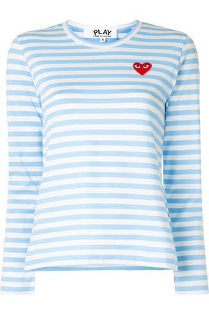 Comme des Garçons Striped logo-patch long sleeved T-shirt