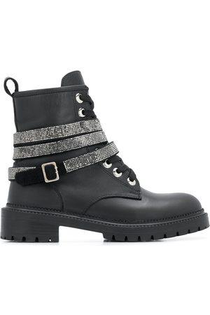 Carvela Tuxedo glitter buckle boots