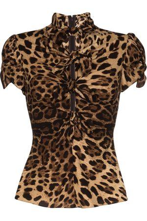 Dolce & Gabbana Knotted leopard-print shirt