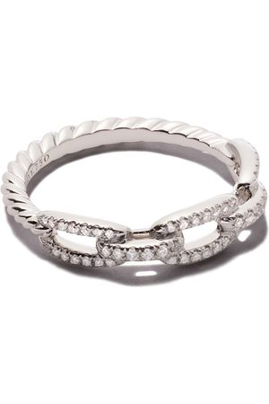 David Yurman 18kt white gold Stax single row pavé diamond chain link ring - 8WADI