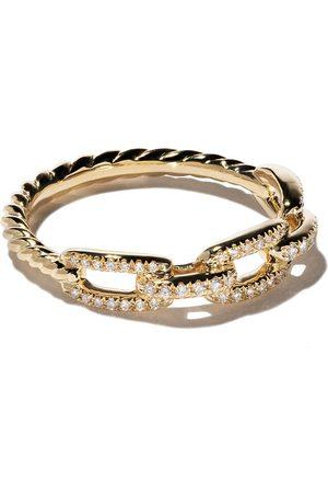 David Yurman 18kt yellow gold Stax single row pavé diamond chain link ring - 88ADI