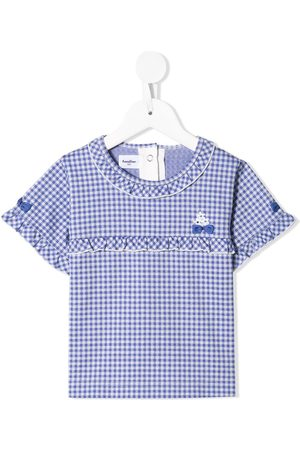 Familiar Ruffle-trim check blouse
