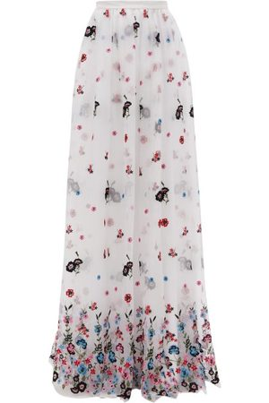 Erdem Lydell Floral-embroidered Organza Maxi Skirt - Womens - Multi