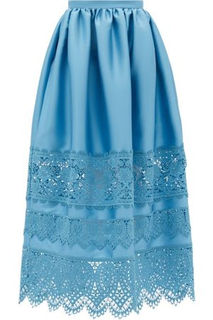 Erdem Jennifer Guipure Lace-trimmed Midi Skirt - Womens