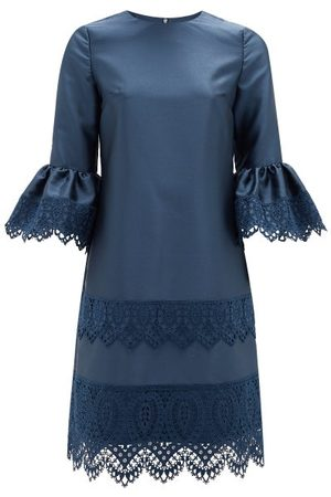Erdem Elijah Guipure Lace-trimmed Fluted-sleeve Dress - Womens - Navy