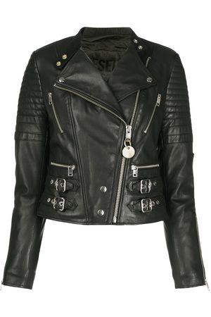 Diesel Quilted buckled strap biker jacket