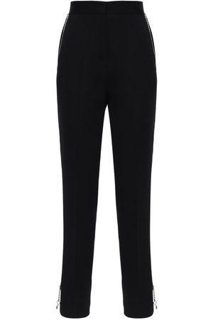 Burberry Women Pants - Wool Gabardine Pants W/ Chain