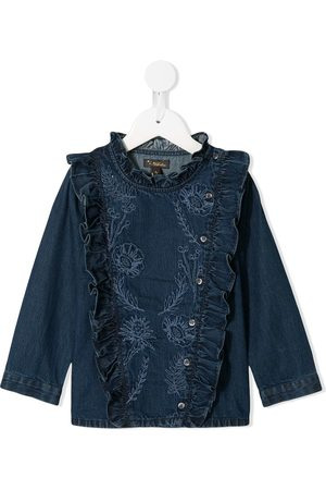 Velveteen Nancy embroidered denim blouse