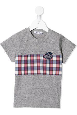 Familiar Contrast-panel logo T-shirt - Grey
