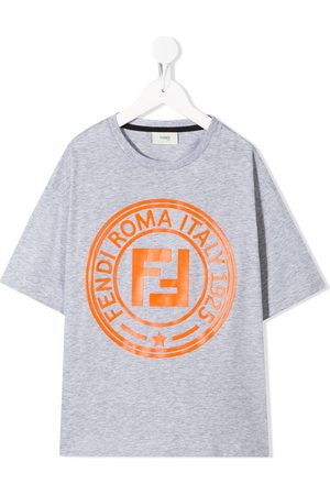 Fendi Boys T-shirts - Logo-print T-shirt - Grey