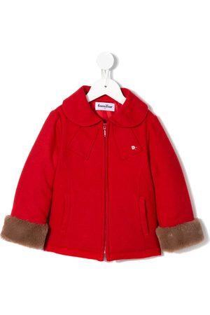 Familiar Fur trim felt coat