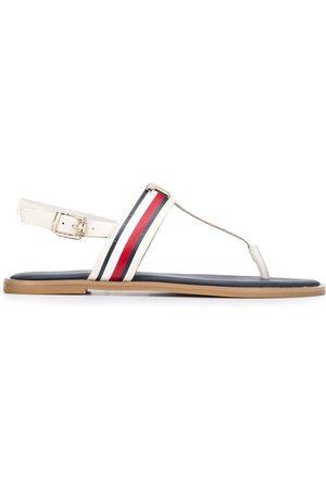 Tommy Hilfiger Logo appliqué flat leather sandals