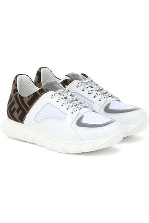 Fendi Leather-trimmed mesh sneakers