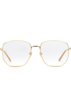 Gucci Rectangular-frame metal glasses - Metallic