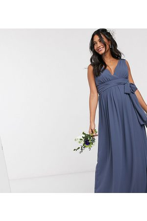 TFNC Bridesmaid Maternity top wrap chiffon dress-Navy