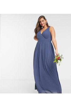TFNC Bridesmaid Plus top wrap chiffon dress-Navy