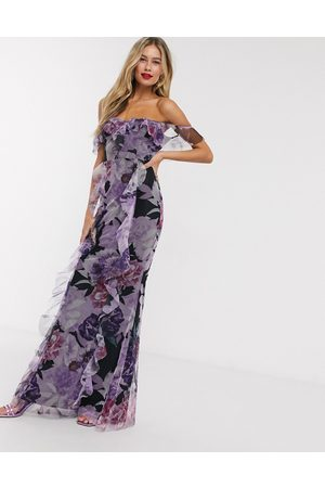 Lipsy London Frilly off shoulder maxi dress in floral print-Multi