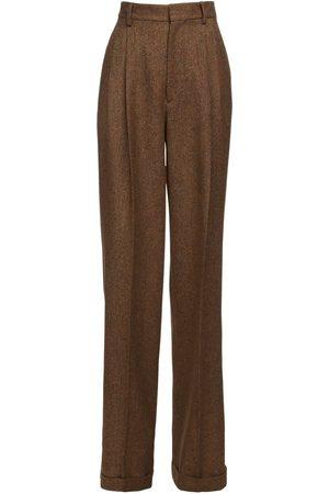 Dsquared2 High Waist Wool Tweed Wide Leg Pants