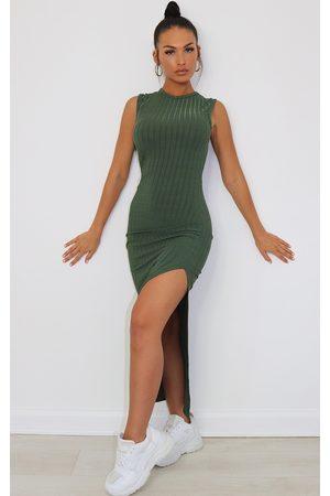 PRETTYLITTLETHING Khaki Recycled Rib Split High Neck Midi Dress