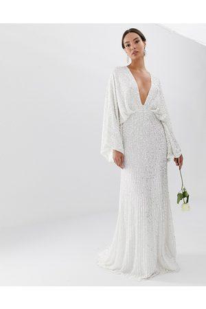 ASOS Women Party Dresses - Ciara sequin kimono sleeve wedding dress
