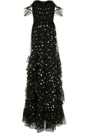 Marchesa Notte Women Printed Dresses - Off-shoulder polka dot print gown