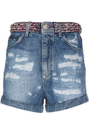 Philipp Plein Women Shorts - Rhinestone-embellished denim shorts