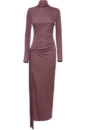 The Attico Turtleneck Jersey Dress W/ Side Cutout