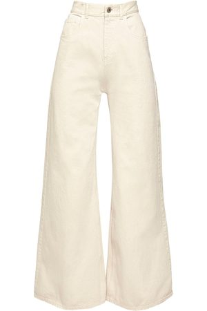 The Attico High Waist Cotton Denim Palazzo Pants